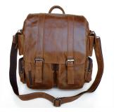 6083 Vintage Leather Style Brown Men's Backpack Messenger Travel Bag