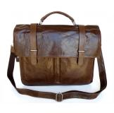 6057 Vintage Tan Leather Men's Chocolate Briefcase Messenger Laptop Bag