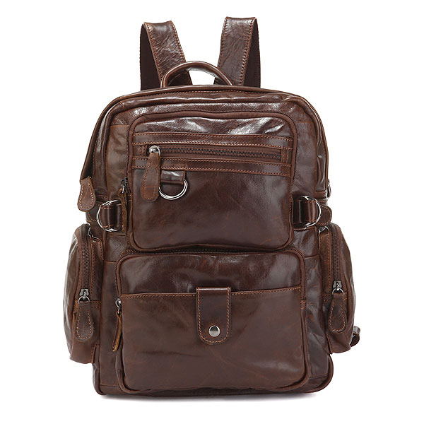 7042Q Cowboy Vintage Leather Men's Travel Backpack Bookbag Schoolbag Hiking Messenger Bag