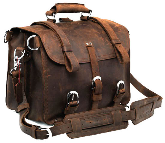 7072R Crazy Horse Leather Men's Briefcase Backpack Travel Bag Huge