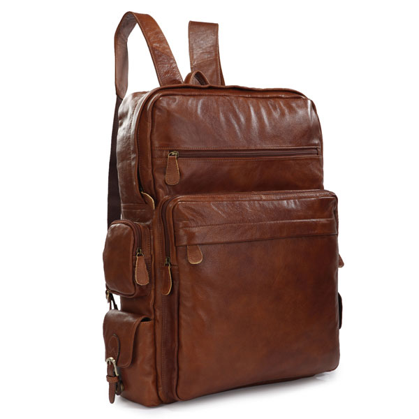 7078B Classic Applied Large Travel Tote Laptop Bag Go Hiking Backpack Genuine Leather