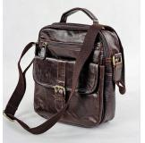 7141Q Genuine Vintage Leather Chocolate Men's Messenger Shoulder Bag Cross Body Purse for Ipd