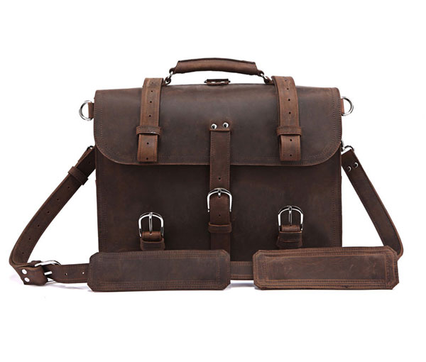 7072R-1 Crazy Horse Leather Men's Briefcase Backpack Travel Bag Huge