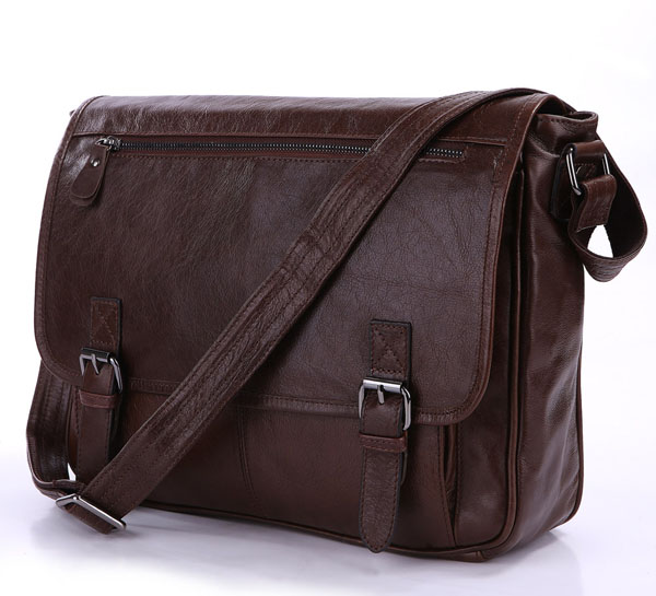 7022LB Vintage Tan Leather Men Classic Shoulder Messenger Bag Briefcase