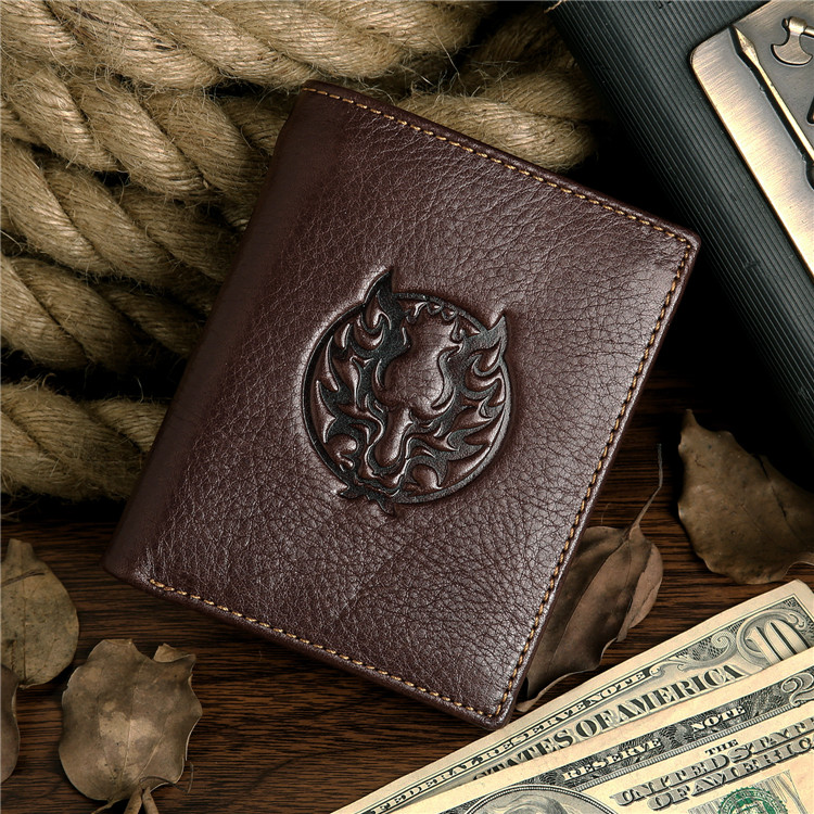 8017-2C 100% Real Genuine Leather Purse Wallet Card Holder