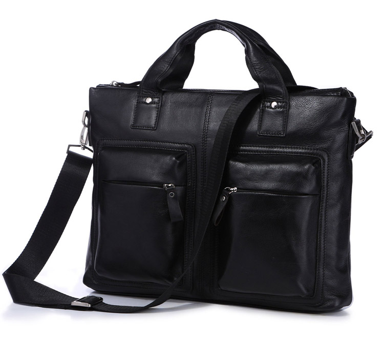 7177A Hot Selling Vintage Leather Men's Black Briefcase Laptop Bag Messenger Handbag