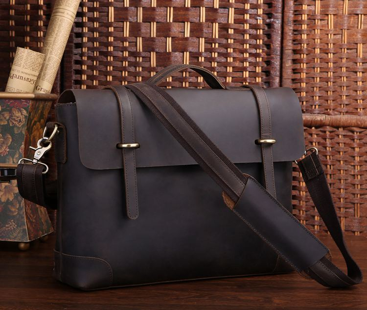 7082R-1 Rare Genuine Cow Leather Men's Briefcase Laptop Handbag Messenger Bag
