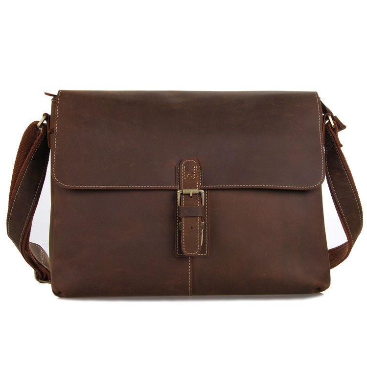 7084LB Crazy Horse Leather Men's Brown Messenger Cross Body Shoulder Bag 2014 Hot Selling