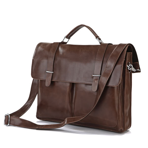 7100B Vintage Tan Leather Brown Briefcase Mens Messenger Bag