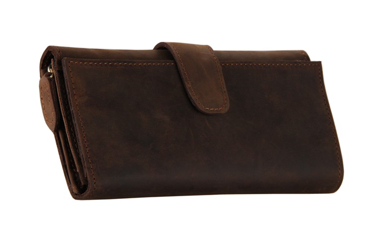 8052R Classic Dark Brown Vintage Leather Purse Clutch Bag With Card Holder