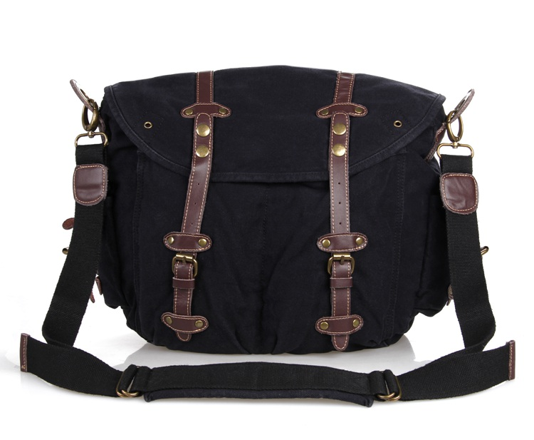 9006A Newest Casual Canvas And Leather Travel Shoulder Bag Hiking Black Color