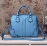3158K Blue Leather Shoulder Bag Shopping Bag Handbag