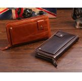 8019B Classic Brown Vintage Leather Mini Wallet Purse Key Case Men's Hand Bag