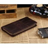 8028C Classic Coffee Vintage Leather Mini Wallet Purse Key Case Men's Hand bag