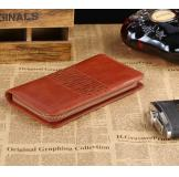 8028B Classic Brown Vintage Leather Mini Wallet Purse Key Case Men's Hand Bag