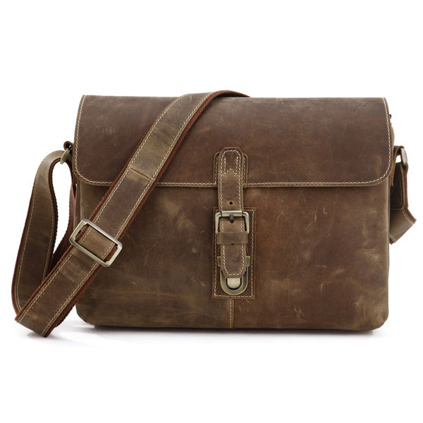 7084B Crazy Horse Leather Men's Brown Messenger Cross Body Shoulder Bag 2014 Hot Selling Daily Bag Without Any Logo