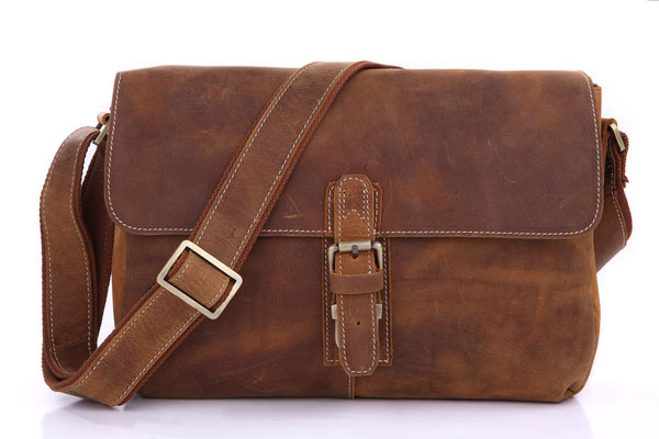 7084B-1 Crazy Horse Leather Men's Brown Messenger Cross Body Shoulder Bag Mens Small Sling Bags