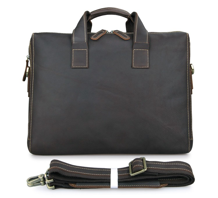 7167R Classic Genuine Leather Men's Chocolate Laptop Tote Bag Briefcase Messenger