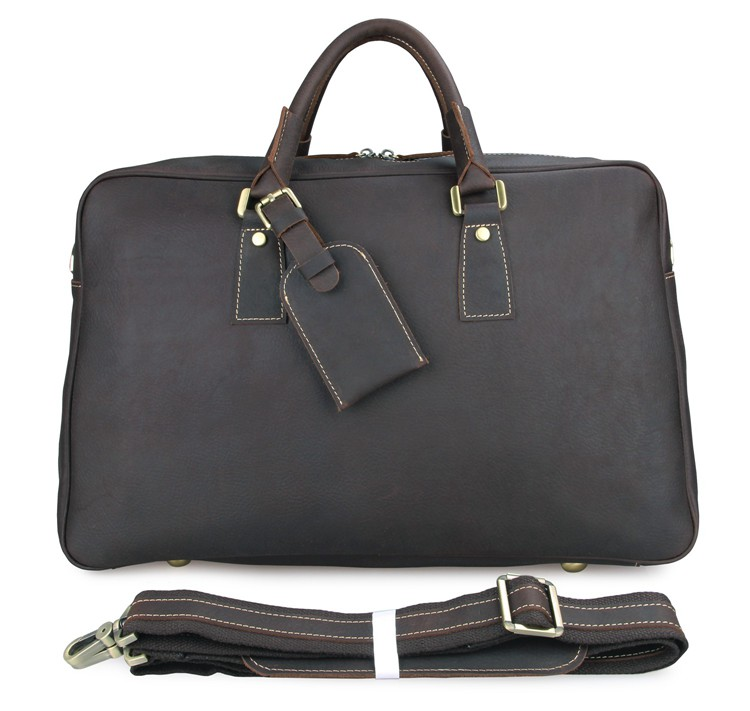 7156Q Classic Genuine Leather Men's Dark Brown Travel Duffle Bag Dispatch Tote Bag 17 Inches Laptop Bag