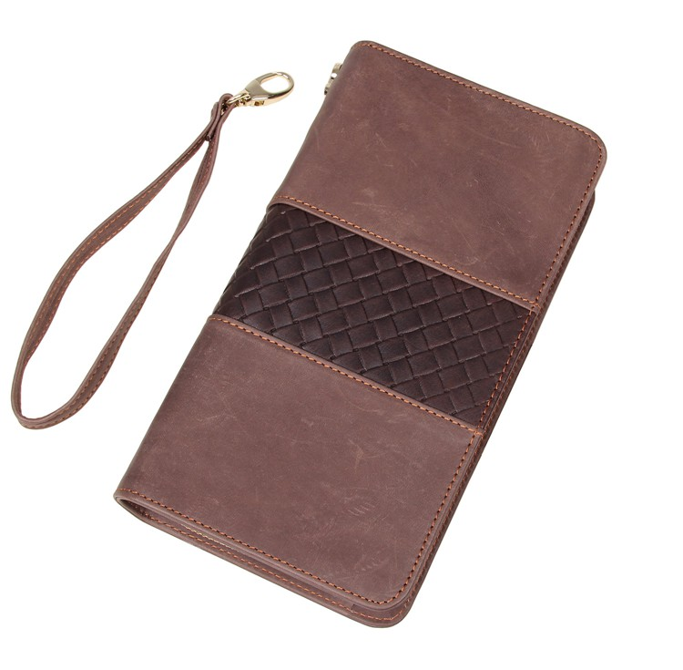 8070R Classic Coffee Genuine Leather Wallet Men's Hand Bag