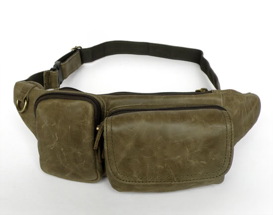 7024M Army Green Genuine Leather Unisex Waist Bag Fanny Pack Purse