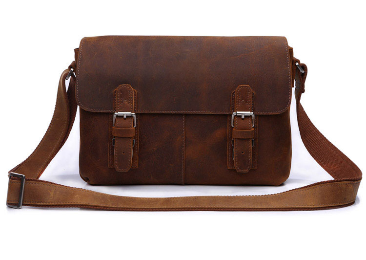 6002B-1 Crazy Horse Leather Men's Brown Shoulder Messenger Bag Crossbody Purse Hot Sell
