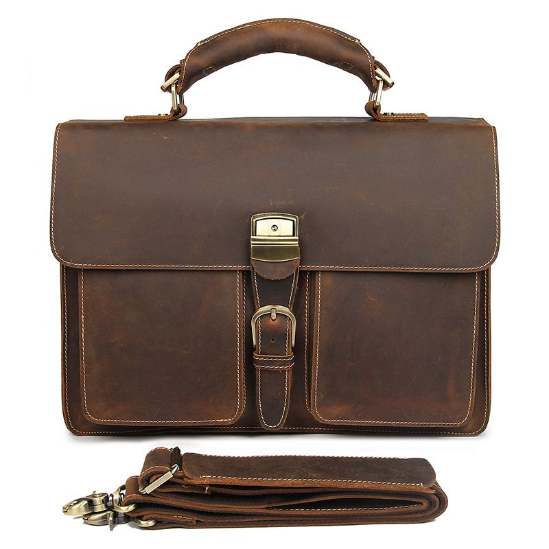 7164R Crazy Horse Leather Men's Briefcase Laptop Handbag Messenger Bag
