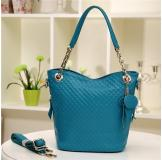 3145K Blue Leather Women's Shoulder Bag Shopping Bag Handbag