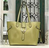 3154D Yellow Leather Shoulder Bag Shopping Bag Handbag