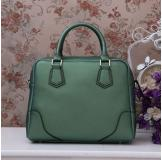 3158M Green Leather Shoulder Bag Shopping Bag Handbag