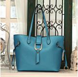 3154K Blue Leather Shoulder Bag Shopping Bag Handbag