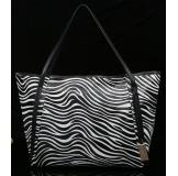 3162AA Black&white Real Leather Shoulder Bag Shopping Bag Handbag