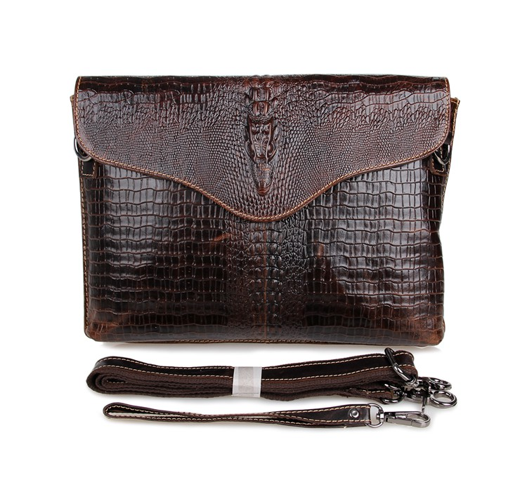 7267C Classic Coffee Vintage Leather Unisex Hand Bag Small Messenger Bag Crocodile Vein