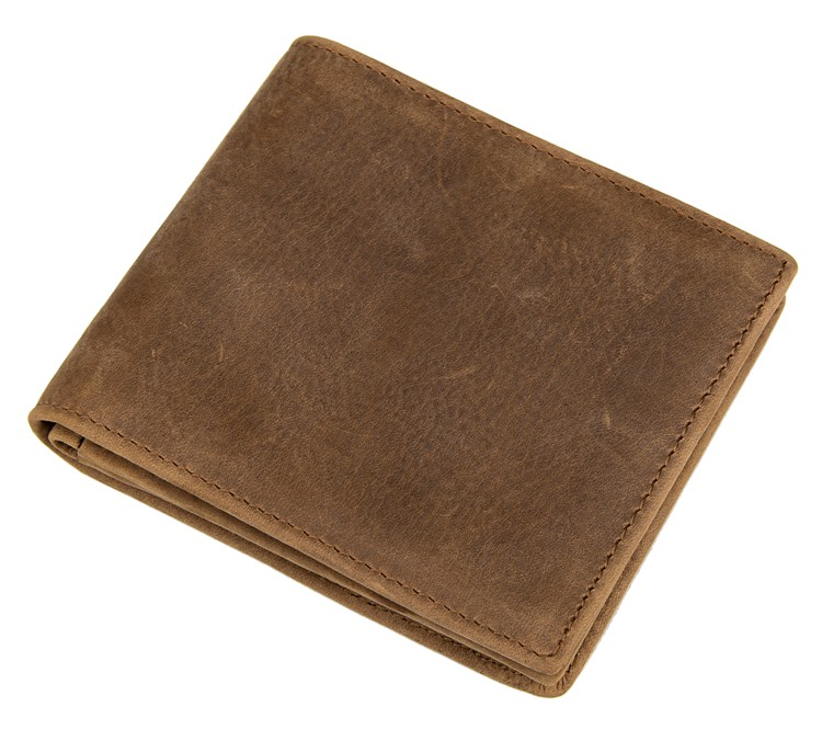 8056B Mens Crazy Horse Brown Leather Wallet Billfold