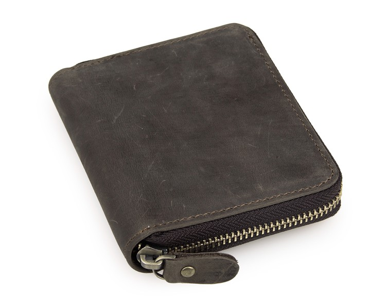 8083R 100% Crazy Horse Leather Zipper Around Wallet Card Holder