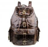 7268C Men's Genuine Leather Backpack with Buckled Pockets