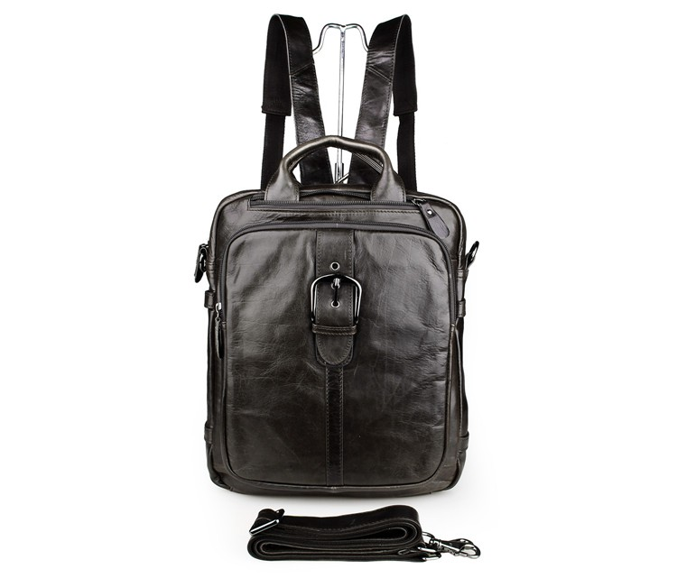 7279J Unisex Genuine Cow Leather Backpack Travel School Bag