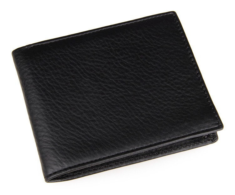 8029A J.M.D Black Genuine Leather Men's Slim Bifold Wallet