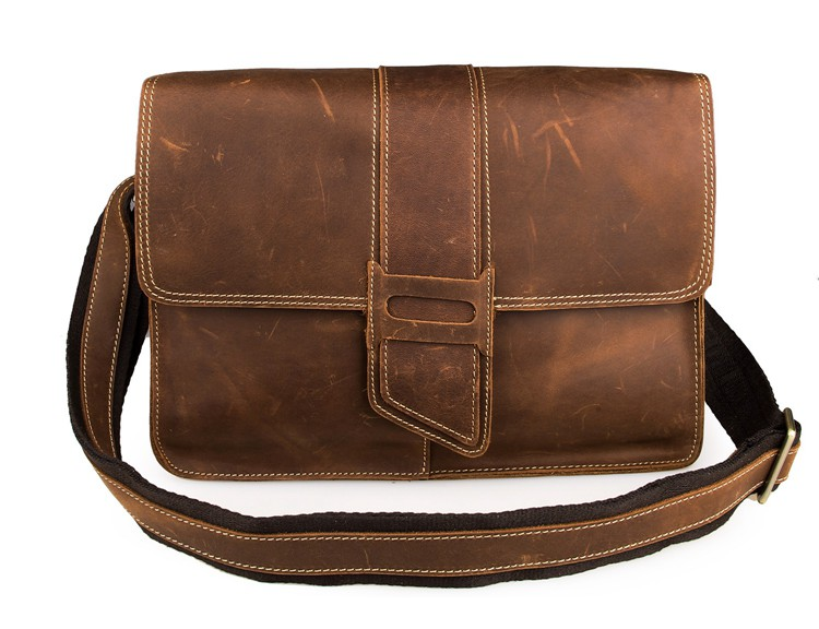 7263B Fashion Men Messenger Leather Shoulder Crossbody Bag Brown
