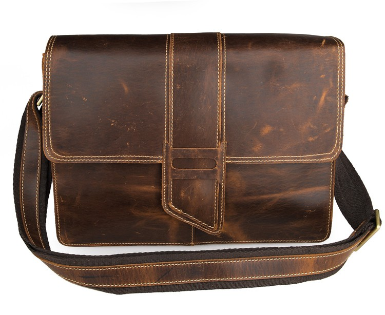 7263B-1 Crazy Horse Leather Men's Business Casual Cross body Messenger Bag