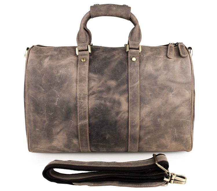 7077J Mens Crazy Horse Leather Weekender Travel Duffle Bag