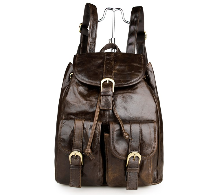 2011LC J.M.D Vintage Oiled Leather Shoulder Backpack Bag for Hiking and Cycling