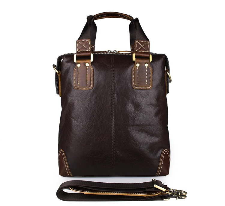 7293C-1 Coffee Color Real Cow Leather Shoulder Bag Men's Tote Bag
