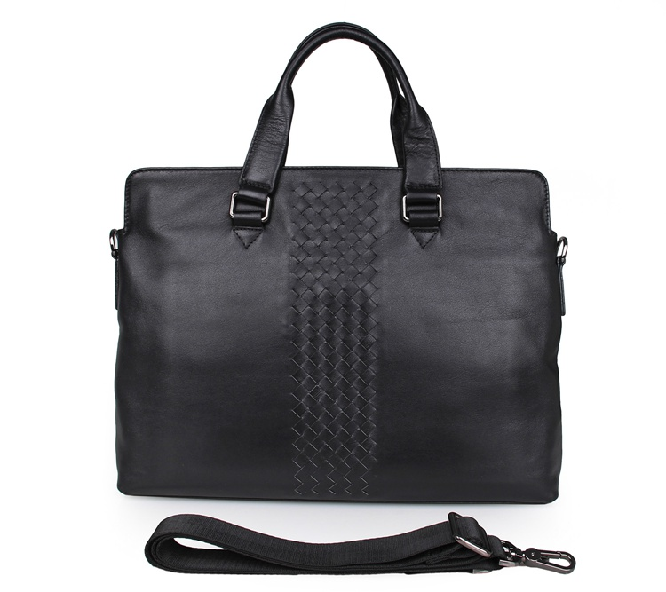 7295A Black Genuine Leather 15 Inches Laptop Bag Briefcase Handbag