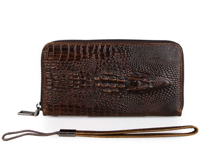 8085Q Crocodile Style 100% Real Genuine Leather Wallet Unisex Clutch Bag