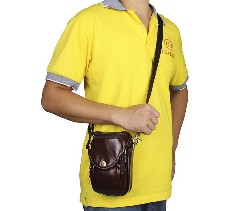 7297Q Classic Chocolate Mens Vintage Leather Mini Messenger Bag Waist Bag Phone Case