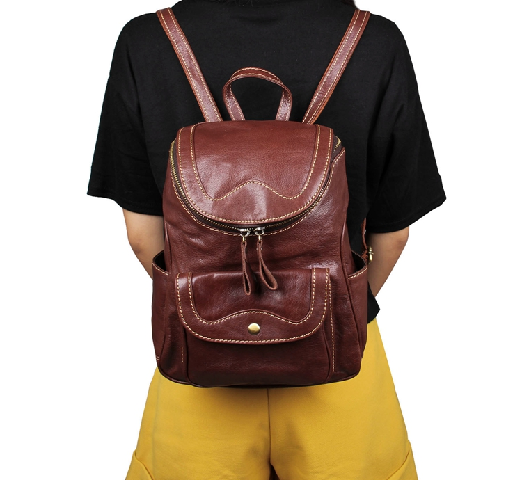 7303B New Designs Vintage Genuine Leather Brown Small Backpack for Girls Daily Rucksack