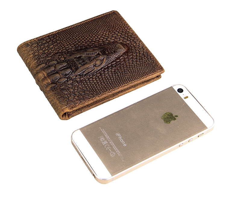 8029C Vintage Crazy Horse Leather Crocodile Pattern Men's Credit Card Holder Wallet Brown