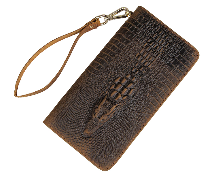 8068R Vintage Carzy Horse Leather Wallet Crocodile Pattern Men Clutch Bag Brown