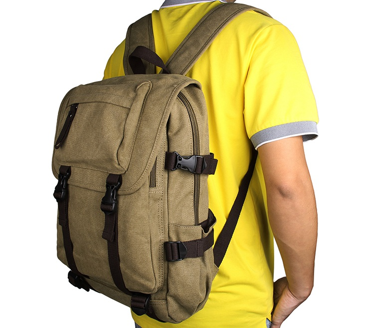 9023N Light Army Green Big Capacity Durable Canvas Hiking Backpack Unisex Laptop Rucksack